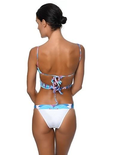 Movom Desenli Çapraz Bikini Takımı Renkli